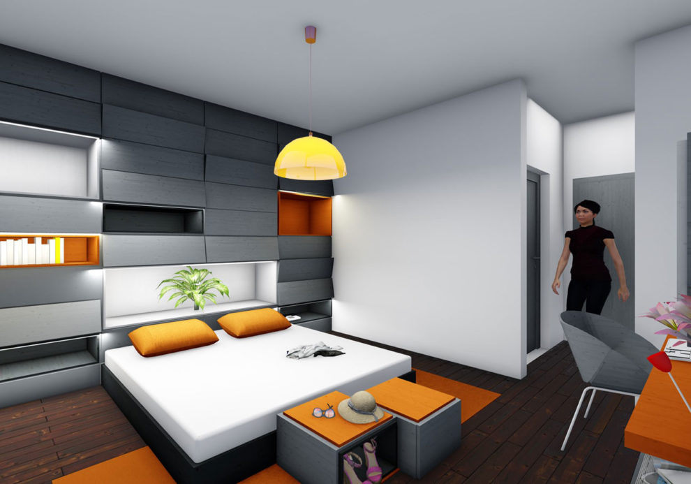 Design in schwarz und orange